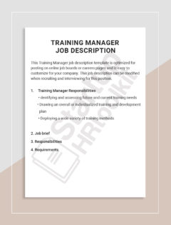 Training Manager Job description